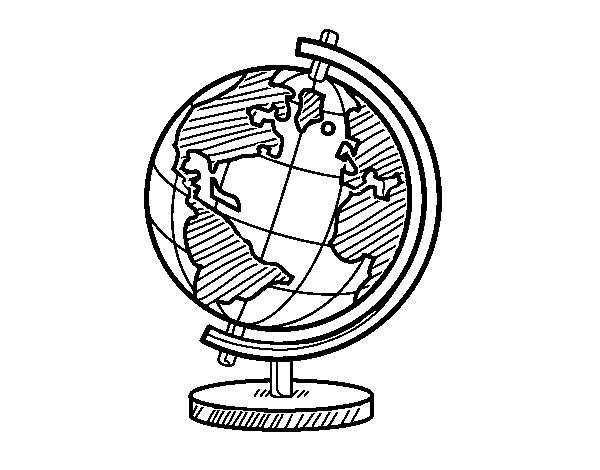 Dibujo De Un Globo Terráqueo Para Colorear Dibujosnet