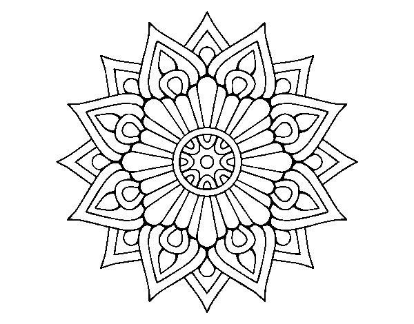Dibujos De Mandalas: Dibujo De Un Mandala Destello Floral Para Colorear