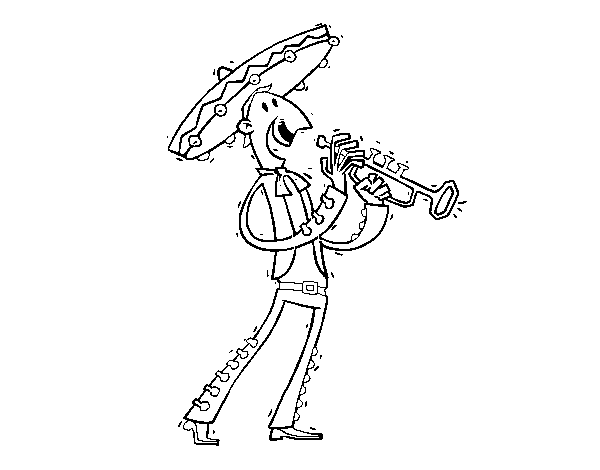 Dibujo de Un mariachi para Colorear - Dibujos.net
