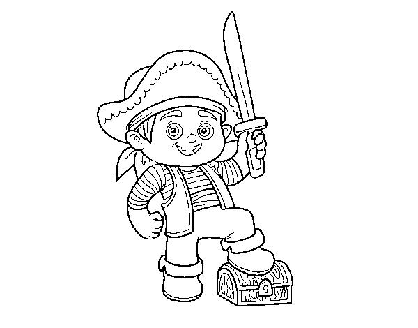 Dibujo de Un niño pirata para Colorear - Dibujos.net