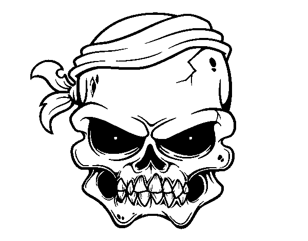 Dibujo De Una Calavera Pirata Para Colorear Dibujos Net