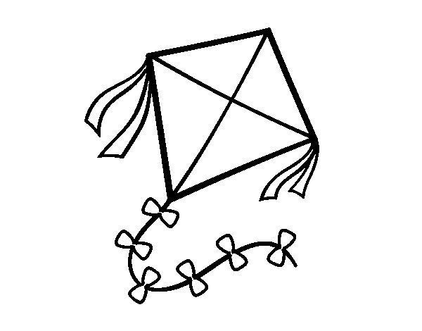 Dibujo de Una cometa para Colorear - Dibujos.net