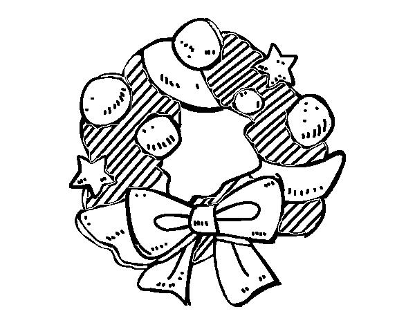 Dibujo de Una corona de Navidad para Colorear - Dibujos.net
