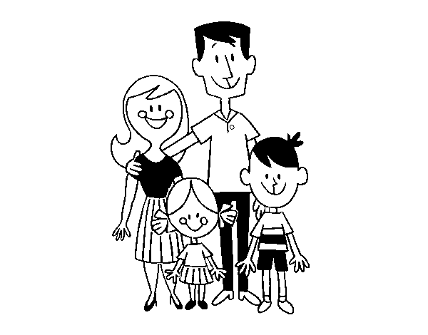 Dibujo de Una familia feliz para Colorear - Dibujos.net