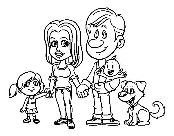 Dibujo De Una Familia Unida Para Colorear Dibujosnet