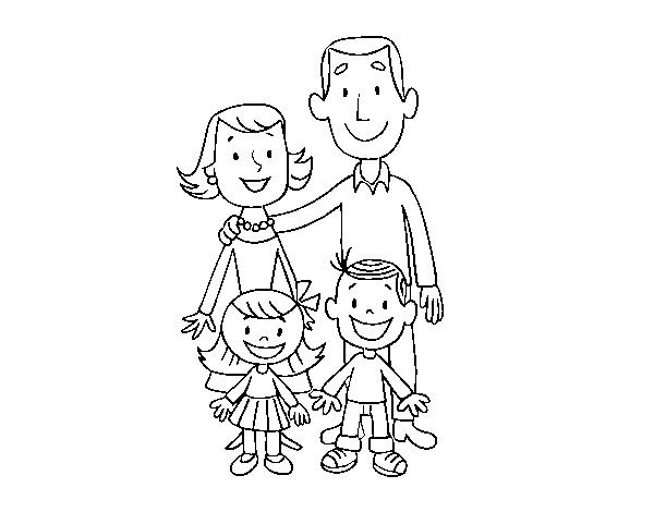 Dibujo de Una familia para Colorear - Dibujos.net
