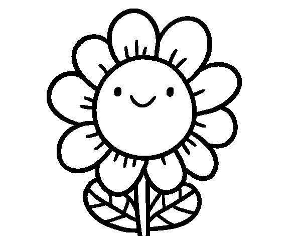 Dibujos Para Colorear De Flora: Dibujo De Una Flor Sonriente Para Colorear