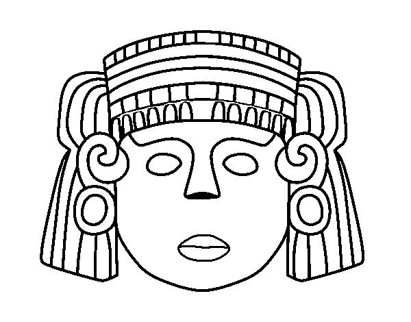 Dibujos De Las Culturas Del Mundo Para Colorear: Dibujo De Una Máscara Mexicana Para Colorear