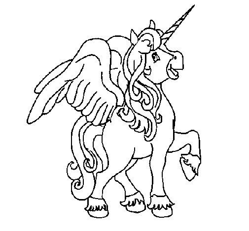 Dibujo de Unicornio con alas para Colorear - Dibujos.net