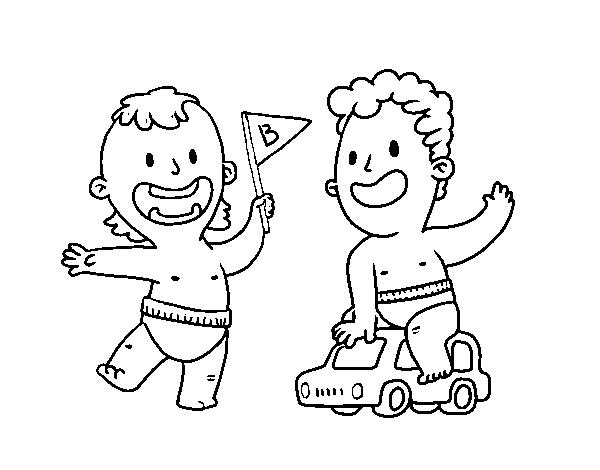 Dibujo de Unos niños jugando para Colorear - Dibujos.net