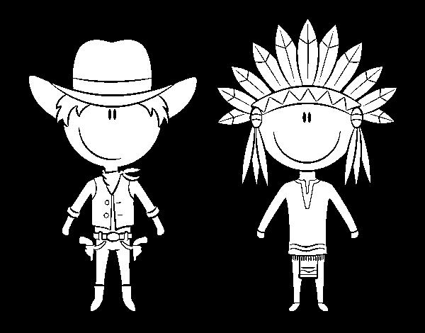 Dibujo De Vaquero E Indio Contentos Para Colorear Dibujosnet