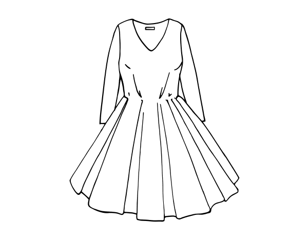Dibujo de Vestido con falda de vuelo para Colorear - Dibujos.net