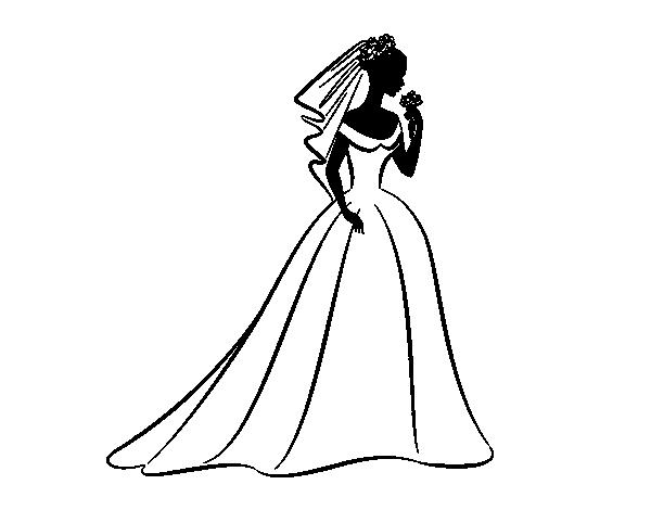 dibujo de vestido de boda y velo para colorear - dibujos