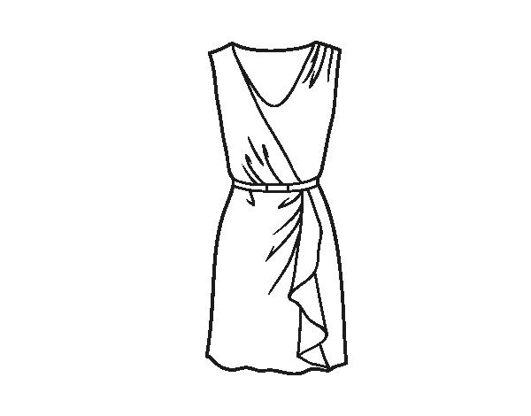 Dibujo De Vestido Sencillo Para Colorear Dibujosnet