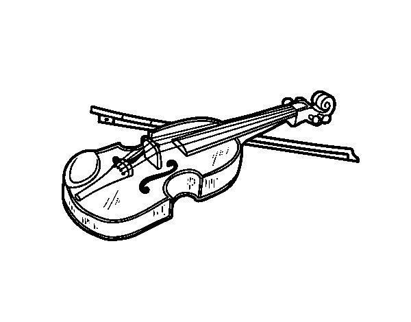 dibujo de violín stradivarius para colorear - dibujos