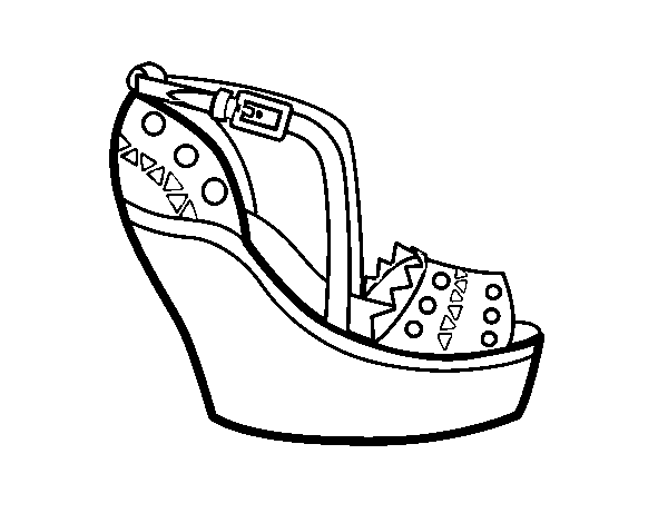 Dibujo De Zapato Con Cuña Para Colorear Dibujosnet