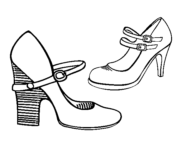 Dibujo De Zapatos De Tacón Para Colorear Dibujosnet