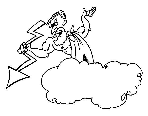 Dibujo de Zeus con un rayo para Colorear - Dibujos.net