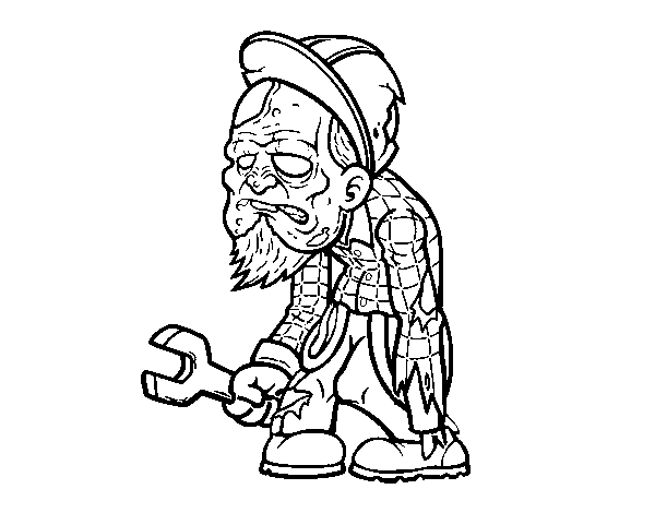 Dibujos De Zombies Para Imprimir Y Colorear: Dibujo De Zombie Obrero Para Colorear